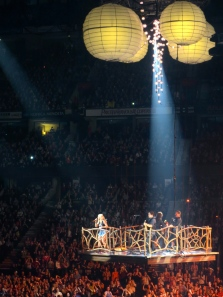 A Carrie concert wouldn't be complete without a flying stage.